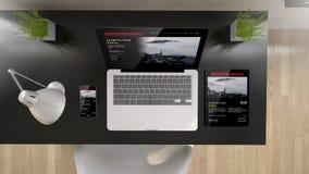 黑办公室顶视图系列放出 免版税库存图片
