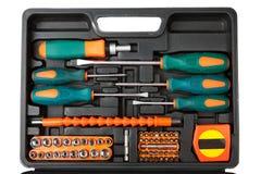 黑匣子查出的工具箱工具白色 免版税库存照片