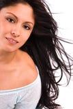 黑发长的妇女 免版税库存照片