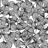 黑叶子抽象概述,自然本底传染媒介的无缝的样式 库存例证