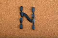 黑向日葵种子字母表木背景 免版税库存照片