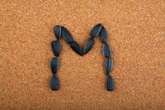 黑向日葵种子字母表木背景 库存图片