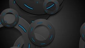 黑和发光的霓虹蓝色圈子抽象行动背景 库存例证