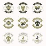 黑和绿色,集合圆的圣诞节象征  免版税库存图片