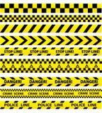 黑和黄色警察镶边边界,建筑,危险caut 皇族释放例证