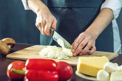 黑围裙的厨师切与刀子的一棵葱 环境友好的产品的概念烹调的 免版税库存照片