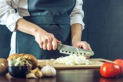 黑围裙的厨师切与刀子的一棵葱 环境友好的产品的概念烹调的 库存图片