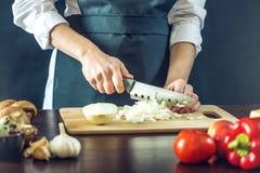 黑围裙的厨师切与刀子的一棵葱 环境友好的产品的概念烹调的 库存照片