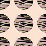 黑圈子的明亮的样式与纹理的在桃红色背景 EPS10 库存例证