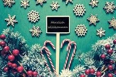 黑圣诞节标志,光,Willkommen意味欢迎,减速火箭的神色 库存图片