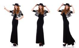 黑在白色隔绝的礼服和帽子的妇女 库存照片