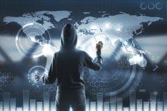 黑客和blockchain屏幕 免版税图库摄影
