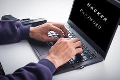 黑客注册与密码 免版税库存照片