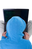 黑客膝上型计算机顶视图年轻人 库存图片