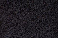 黑小茴香籽,漂白亚麻纤维的奈洁拉-特写镜头背景 库存图片
