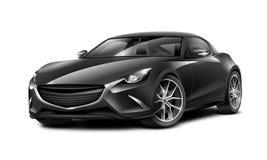 黑小轿车运动的汽车 有光滑的表面的普通汽车在白色背景 免版税库存照片