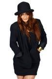 黑帽会议夹克拉丁妇女 库存照片