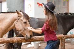 黑帽会议的美丽的少妇有户外一匹棕色马的 免版税库存照片