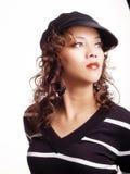 黑帽会议西班牙毛线衣妇女年轻人 库存照片