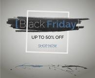 黑技术网广告的星期五销售折扣蓝色传染媒介横幅 库存图片