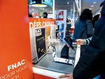 黑星期五商店购物天在法国 库存照片