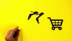 黑星期五穿上鞋子电子商务商店的销售广告,停止运动动画 库存例证