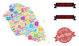黑星期五结构的格拉西奥萨岛海岛和困厄邮票军用镶嵌地图  皇族释放例证