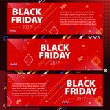黑星期五销售横幅集合 海报销售 在孟菲斯样式的模板 做广告的时兴和现代横幅 红色horizont 免版税库存照片