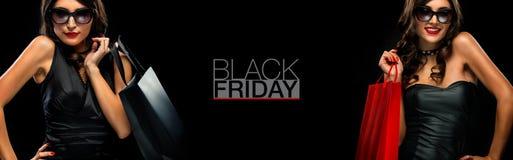 黑星期五销售海报或横幅 拿着红色袋子的购物妇女被隔绝在黑暗的背景在假日 图库摄影