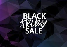 黑星期五销售海报设计 在黑暗的背景的手拉的广告的文本 向量例证