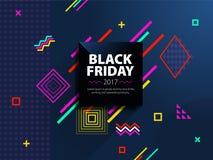 黑星期五销售网横幅 做广告的时兴和现代横幅 在蓝色背景的黑角规 海报销售 Templ 免版税库存图片
