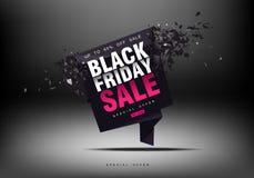 黑星期五销售背景 与飞行片段的冲击波 大销售,黑星期五,创造性的模板 免版税库存图片
