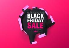 黑星期五销售背景 在桃红色纸的孔 大销售,黑星期五,创造性的模板 也corel凹道例证向量 向量例证