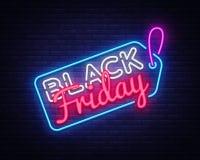 黑星期五销售霓虹灯广告传染媒介 黑星期五销售设计模板霓虹灯广告,轻的横幅,霓虹牌,每夜 库存例证