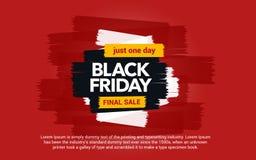 黑星期五销售题字 巨大折扣 在红色背景的抽象墨水污点 抽象画笔对跟踪的被绘的实际冲程纹理是 y的黑星期五模板 库存图片