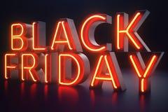 黑星期五-年的期望的销售 霓虹红色3D横幅 盛大折扣 只每年一次,最大值 库存例证
