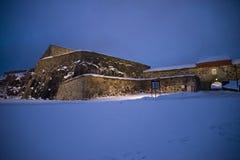 黑暗和寒冷在fredriksten堡垒(以下龙) 图库摄影