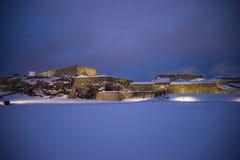 黑暗和寒冷在fredriksten堡垒(大门) 免版税库存图片