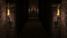 黑暗的中世纪城堡走廊 影视素材