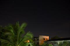 黑暗的例证夜空随风飘飞的雪 库存图片