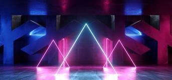 黑暗的充满活力的在具体难看的东西X的圈子三角霓虹减速火箭的萤光激光虚拟现实紫色蓝色桃红色发光的光 向量例证