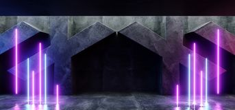 黑暗的充满活力的霓虹减速火箭的萤光在具体难看的东西X的激光虚拟现实紫色蓝色桃红色发光的光塑造了室霍尔 皇族释放例证