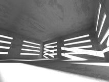 黑暗的具体空的室 现代结构的设计 免版税库存照片