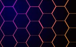 黑暗的几何背景六角形光 皇族释放例证