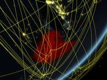 黑暗的地球上的埃塞俄比亚与网络 库存例证