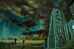 黑暗的场面死亡阴影输入的庭院 库存照片