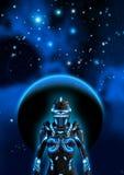 黑暗的天空,在背景中行星,星云和许多明亮的星的,3d外籍人靠机械装置维持生命的人例证 向量例证