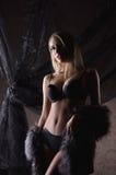 黑暗的女用贴身内衣裤和毛皮的一名新白肤金发的妇女 免版税库存图片