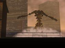 黑暗的妖怪机器人场面 库存图片