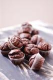 黑暗的巧克力微型松饼 免版税库存照片